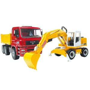 Bruder Toys 2751 - Camion benne Man avec excavateur Liebher