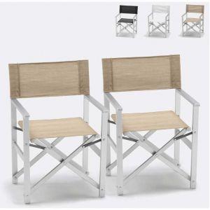 Image de Beach and Garden Design Chaises transats réalisateur de plage pliants aluminium textilene LUSSO 2 pcs | Beige