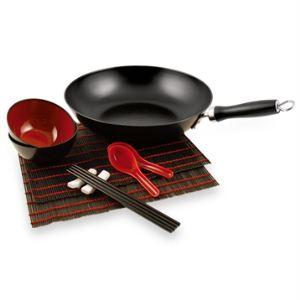 Baumalu Ensemble poêle wok en acier avec accessoires 30 cm