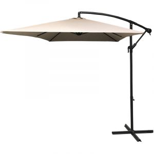 Pegane Parasol décentré rectangle coloris beige - Dim: 2 X 3 m -