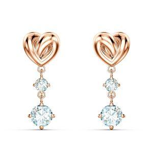 Swarovski Boucles d'oreilles 5517942 - Boucles d'oreilles métal rhodié rose c?ur et cristal Femme