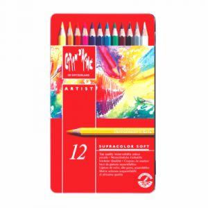 Caran d'Ache Boîte métal 12 crayons de couleurs Artistes aquarellables Supracolor