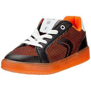 Geox J Kommodor A, Sneakers Basses garçon, Noir (Black/Orange), 32 EU