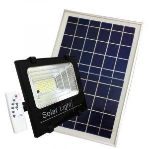 Silamp Projecteur Solaire LED 60W Dimmable avec Détecteur (Panneau Solaire + Télécommande Inclus) - Blanc Froid 6000K - 8000K
