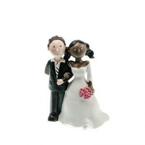 Chaks 80175 - Figurine en résine Couple de mariés White man & Black girl (15 cm)