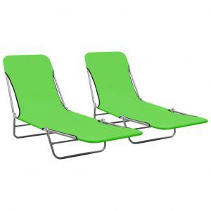 VidaXL Chaises longues pliables 2 pcs Acier et tissu Vert
