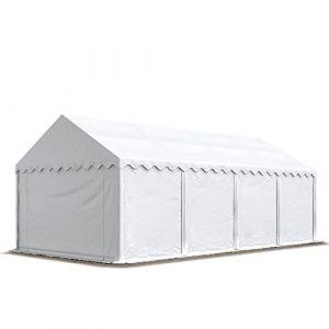 Intent24 Abri / Tente de stockage ECONOMY - 4 x 8 m en blanc - toile PVC 500 g/m² imperméable