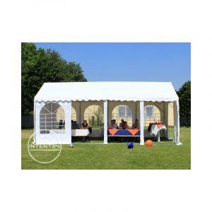Intent24 Fr Tente de réception 4x8m PVC 550 g/m² gris imperméable barnum, chapiteau