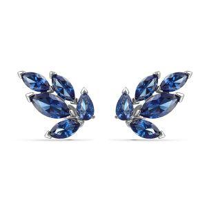 Swarovski BOUCLES D'OREILLES 5536549 - Boucles d'oreilles Métal Argenté Feuille Cristaux Bleu Femme
