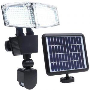 Projecteur solaire 2 têtes noir eclairage puissant panneau solaire déporté LED blanc DOUGLAS H23cm avec détecteur de mouvement orientable