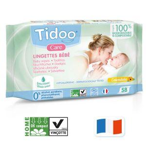 Tidoo Lingettes bébé compostables calendula x58