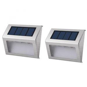Lumisky Pack de 2 Spots solaires mural extérieur étanches - 3 LEDs - 3 LEDs blanches - 8 h - Dispose de 2 modes d'éclairage - Bouton : On / off