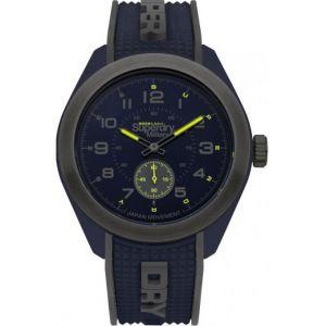 Superdry Montre SYG214U - Montre Bicolore Bleu et Noire Aiguilles Fluo Homme