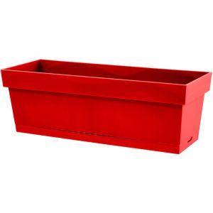 Eda Plastiques EDA Jardiniere Toscane 60cm et plateau emboité - Contenance 13l - Rouge rubis
