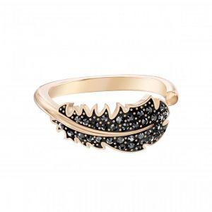 Swarovski Bague 5509676 - Métal Rhodié Motif Plume Cristal Noir Femme