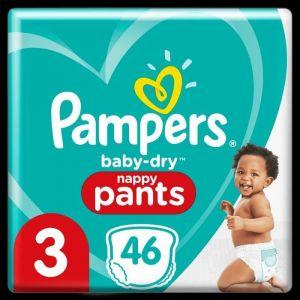 Pampers Couches-Culottes Taille 3 (6kg-11kg)- Baby-Dry Pants, 46 Culottes