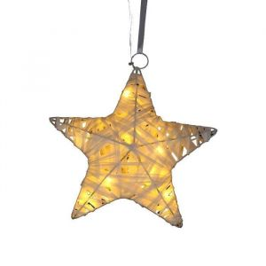 Suspension étoile 10 LED en raphia (20 cm)