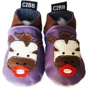Image de C2BB Chaussons bébé Chausson cuir souple ZEBRE