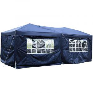 Outsunny Tonnelle barnum pliant pop-up imperméabilisé 6L x 3l x 2,5H m 6 parois latérales amovibles 4 fenêtres + sac de transport bleu