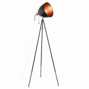 Eglo Lampadaire trépied en métal noir et cuivré hauteur 135.5 cm Chester