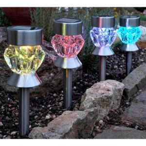Lot de 4 balises solaires LED