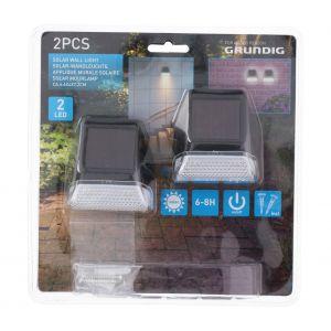 Grundig Pack de 2 appliques solaires murales - 7x6x4 cm