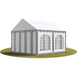 Intent24 TOOLPORT Tente Barnum de Réception 3x4 m PREMIUM Bâches Amovibles PVC 500 g/m² gris-blanc + Cadre de Sol Jardin.FR