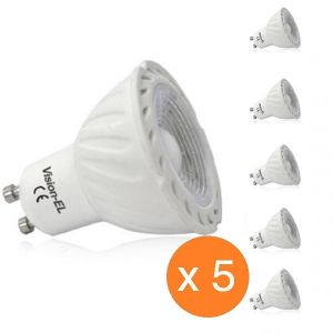 Vision-El Pack de 5 spots led GU10 COB 5 watt dimmables (eq. 45 watt) - Couleur eclairage - Blanc neutre -
