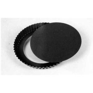 Patisse Moule à tarte antiadhésif avec bord non roulé et fond amovible en acier (30 cm)