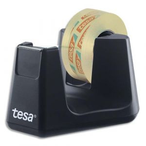 Tesa Dévidoir Easy Cut Smart + 1 rouleau film transparent 19mm x 10m, système Stop Pad. Noir
