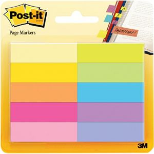 Post-It Marque-Pages en Papier - 12,7 x 44,4 mm - Couleurs Assorties
