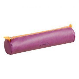 Rhodia 318990C - Trousse ronde rama, simili cuir italien, coloris violet
