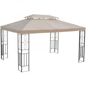 Outsunny Toile de rechange pour pavillon tonnelle tente 3 x 4 m polyester haute densité imperméabilisé 180 g/m² beige