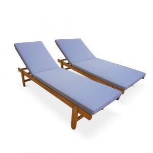 Alice's Garden Set de 2 bains de soleil en Acacia FSC – AREQUIPA – Transats avec coussins gris et roulettes, multi positions