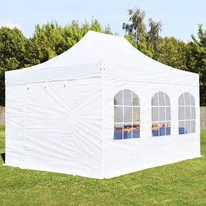 Intent24 Tente pliante 3x4,5 m avec fenêtres blanc ignifugee PROFESSIONAL tente pliable ALU pavillon barnum.FR
