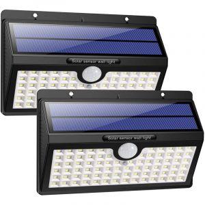 Techbox HETP Lampe Solaire Extérieur [Version à économie D'énergie] 2 Pack 78 led 2000mAh Détecteur de Mouvement éclairage Solaire Extérieur étanche Sans Fil Spot Solaire Lumière Puissant Sécurité pour Jardin