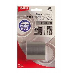 APLI 13678 - Ruban adhésif américain multi-usage, 50mm x 5m, toilé gris