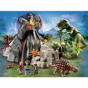 Playmobil 5230 Dinos - Tyrannosaure et Saichania avec volcan