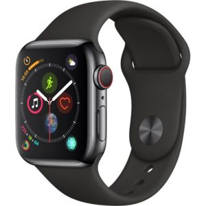 Apple Watch Series 4 + Cellular - 40mm - Acier Noir / Noir