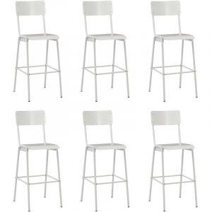 VidaXL Chaises de bar 6 pcs Blanc Contreplaqué solide et acier