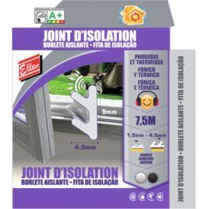 Ellen Joint d'isolation phonique et thermique adhésif noir - longueur 7,5 m