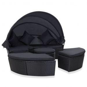 VidaXL Chaise longue de jardin avec auvent Résine tressée Noir