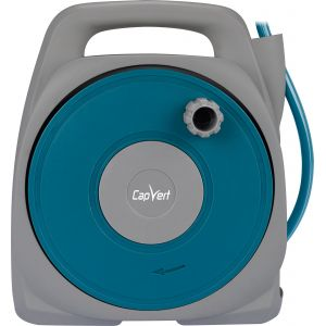 Cap Vert Dévidoir de tuyau d'arrosage portable équipé - Longueur 10 m - Bleu et gris clair - Bleu pétrole et gris clair