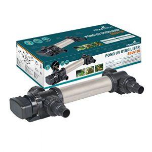 All Pond solutions SSUV Clarificateur/Stérilisateur Inox de Bassin/d'Étang avec Lampe UV pour Aquariophilie 36/36 W