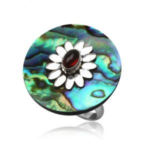 Blue Pearls Cry 8423 T - Bague Abalone ajustable en argent 925°