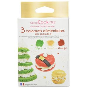 Scrapcooking 3 colorants poudre Noël vert /rouge /doré