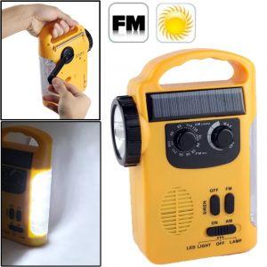 WeWoo LED Avec panneau solaire Lanterne de secours à à manivelle à énergie de la dynamo / multi-fonction Lampe de poche à DEL extérieure avec radio AM / FM