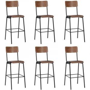 VidaXL Chaises de bar 6 pcs Contreplaqué solide et acier