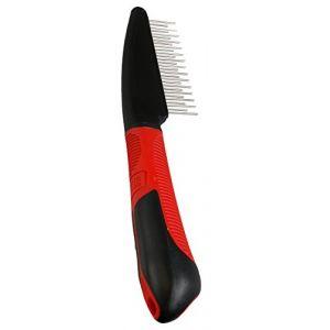 Karlie Toilettage Peigne dents rotatif avec poignée, Rouge/noir