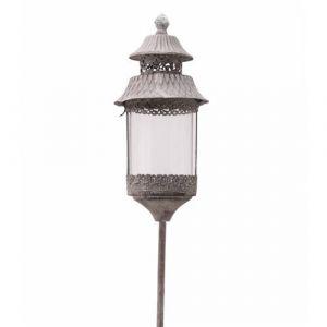 L'héritier du temps Lanterne Ronde Sur Pic à Piquer Planter Porte Bougie Lampion Luminaire Extérieur Intérieur en Fer Gris Antique 13,5x13,5x131cm 131